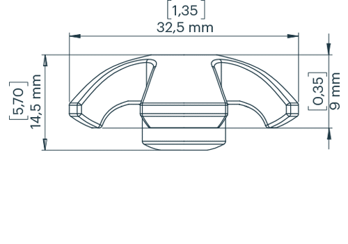 KS Recessed Deckfitting Ø 5 mm round cross dimensional drawing